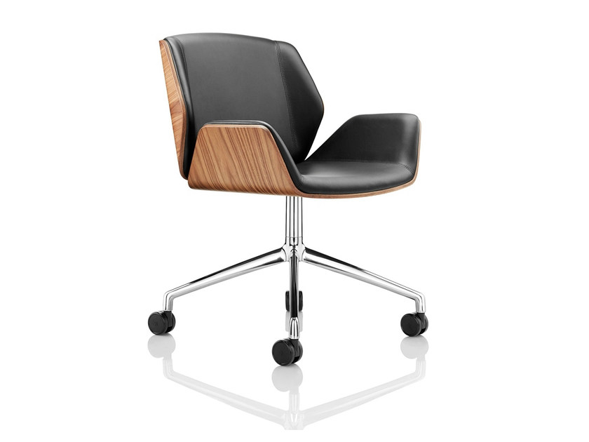 Chair with 5-spoke base with armrests with casters KRUZE | Chair with 5-spoke base by Boss Design
