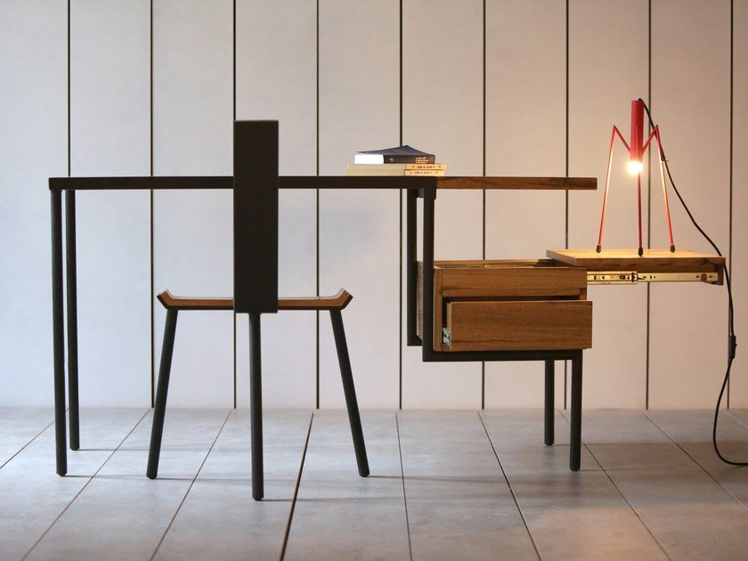 Rectangular writing desk with drawers KTAB FRAKE BLACK by Kann Design