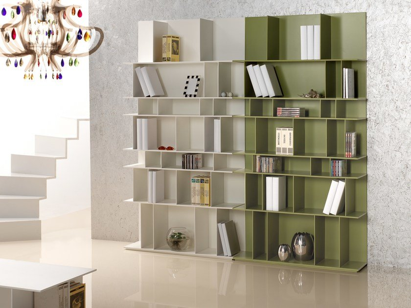 Open sectional lacquered MDF bookcase KUBO by IDEAS Group
