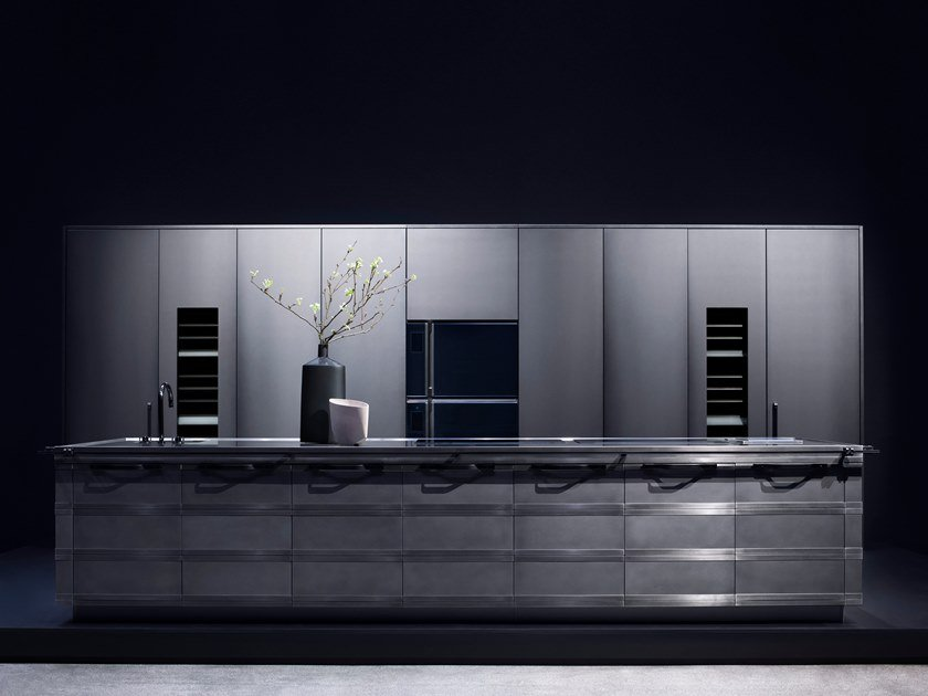 Einbauküche aus Edelstahl mit Kücheninsel KURKUM By FENDI CUCINE ...
