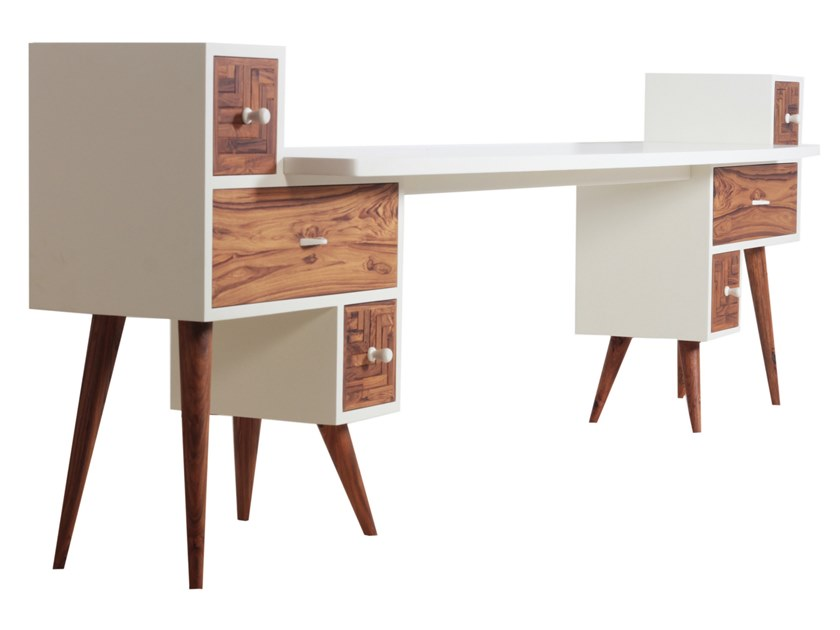 Wooden writing desk with drawers KVADRATNA | Writing desk by ALANKARAM