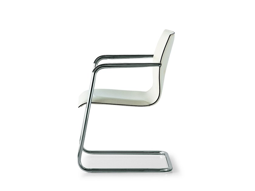 Cantilever leather reception chair with armrests KX HOSPITALITY by FANTONI