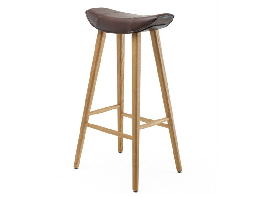 Leather barstool with footrest KYA BARSTOOL WOODEN FRAME | Leather stool by Freifrau