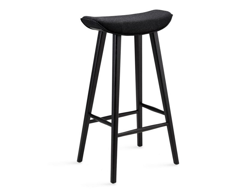 Fabric barstool with footrest KYA BARSTOOL WOODEN FRAME | Stool with footrest by Freifrau