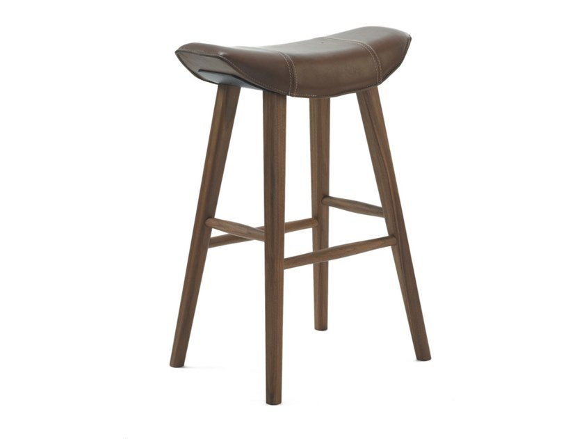 Leather stool with footrest KYA KITCHEN STOOL WOODEN FRAME by Freifrau