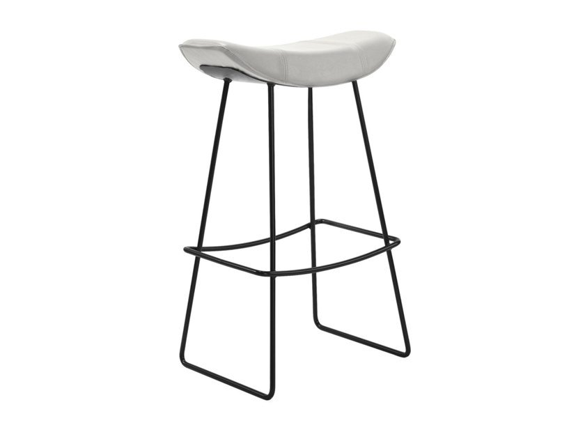 Sled base leather stool with footrest KYA KITCHEN STOOL WIRE FRAME by Freifrau