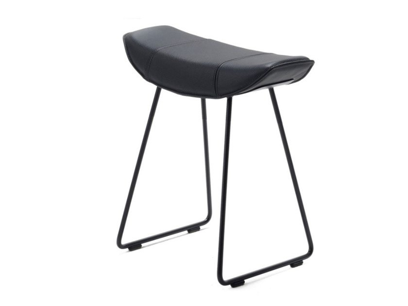 Low upholstered sled base leather stool KYA STOOL SEAT WIRE FRAME by Freifrau