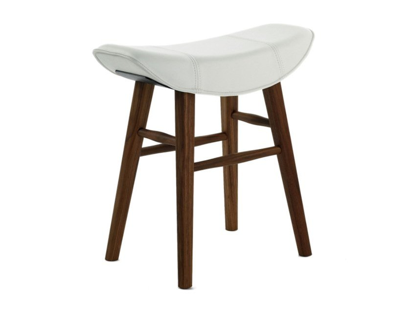 Low upholstered leather stool KYA STOOL SEAT WOODEN FRAME by Freifrau