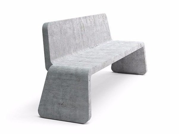 Vestre Kyoto Seat Cement Bench With Back