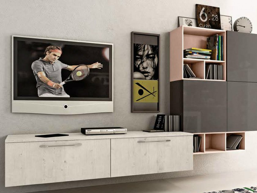 Sectional wall-mounted storage wall KYRA LIVING by CREO Kitchens