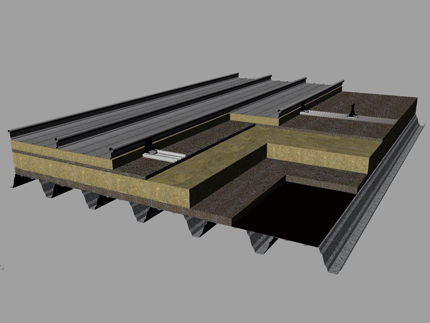 Insulated metal panel for roof Kalzip Acoustic Roof by KALZIP