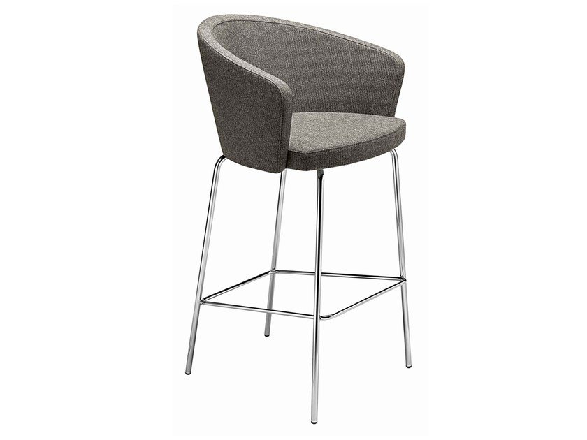 Upholstered stool with armrests with footrest Kicca 366 by Metalmobil