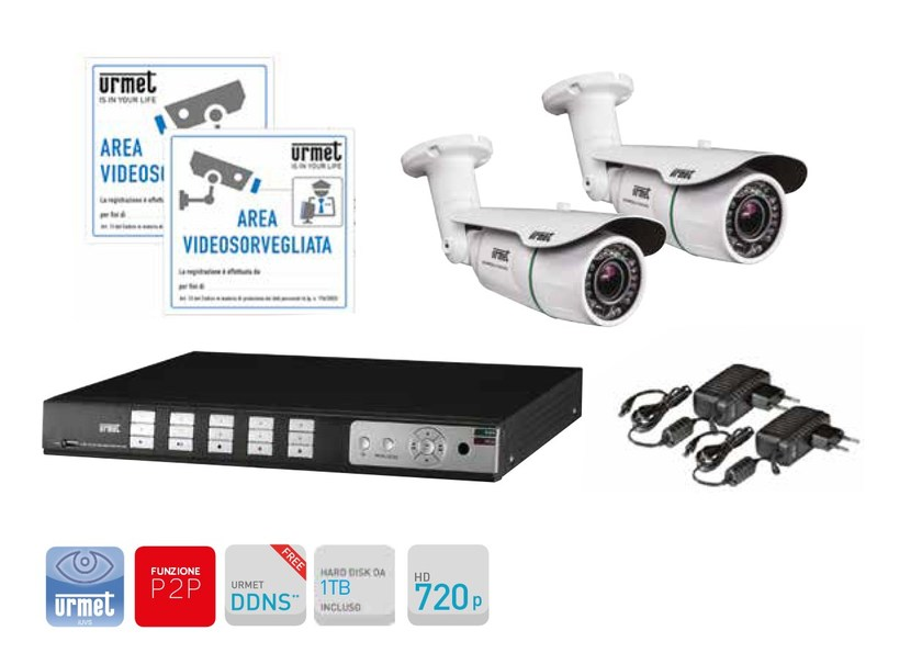 Surveillance and control system Kit TVCC con DVR AHD 720p 4 canali by Urmet