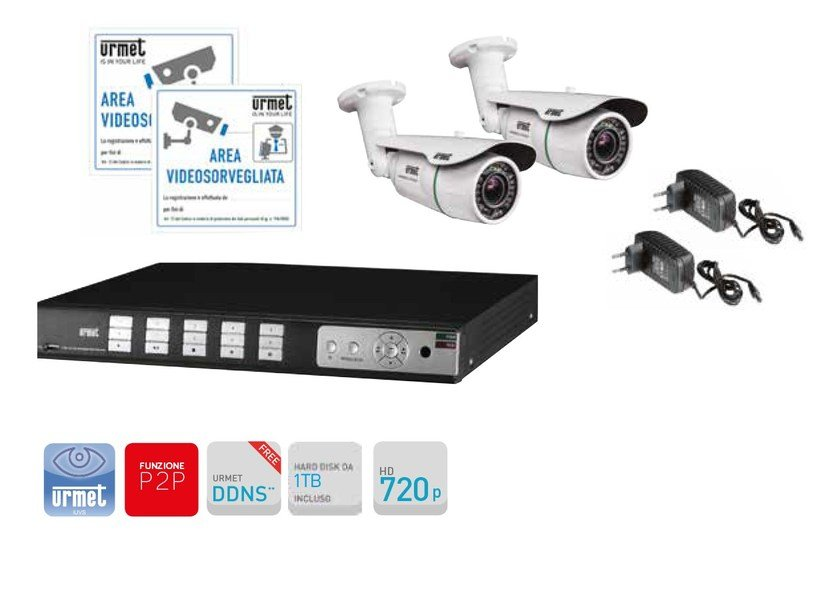 Surveillance and control system Kit TVCC con DVR AHD 720p 8 canali by Urmet