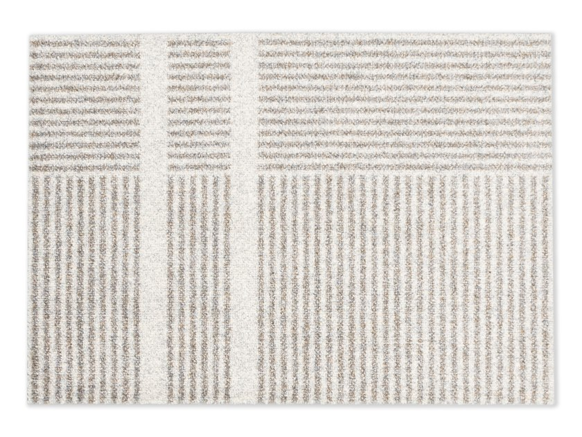 Rectangular striped recycled material rug