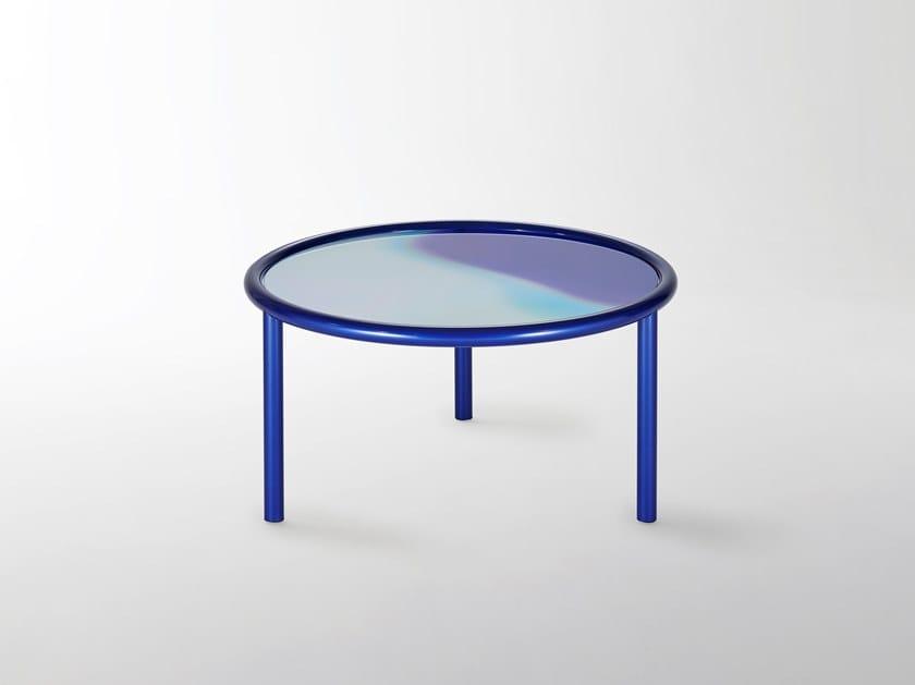 Tavolino basso rotondo in cristallo L.A. SUNSET by Glas Italia