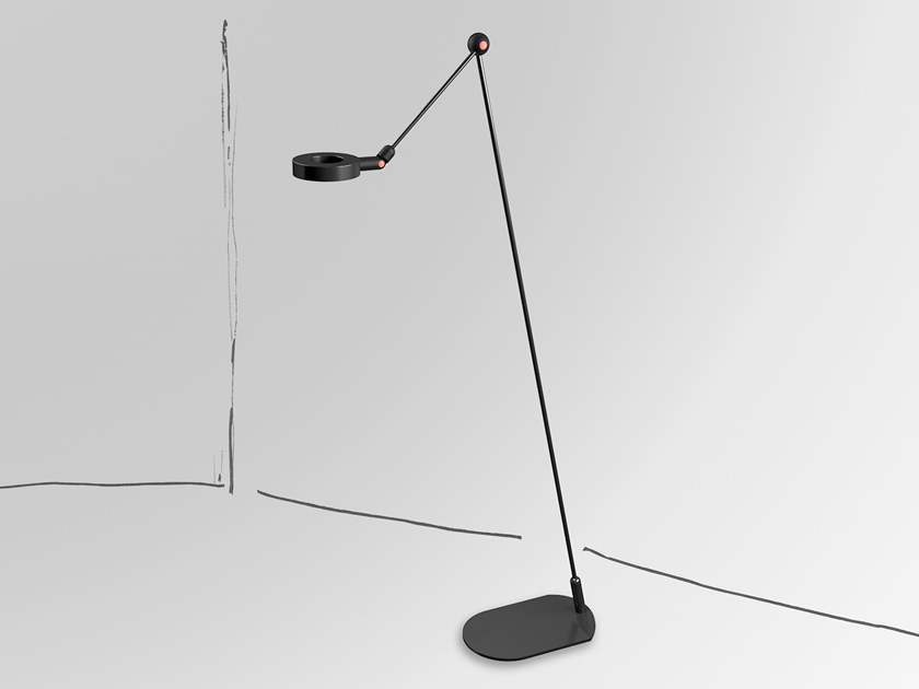 LED aluminium floor lamp with swing arm L'AMICA | Floor lamp by Martinelli Luce