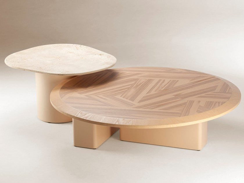 Ash and travertine Set of small tables L'ANAMOUR by DOOQ