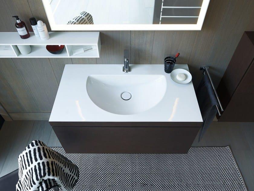 Mobile lavabo sospeso in legno con cassetti L-CUBE C-BONDED | Mobile ...
