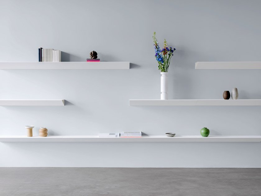 Powder coated steel wall shelf L1 NEWTON | Wall shelf by LOEHR