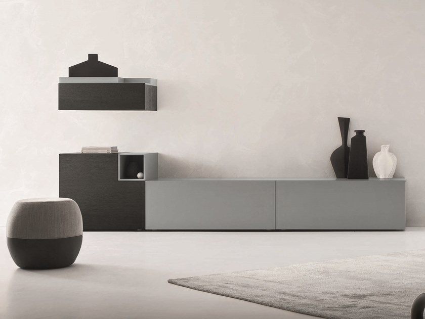 Sectional lacquered storage wall LEI   Composition L204 by ZANETTE