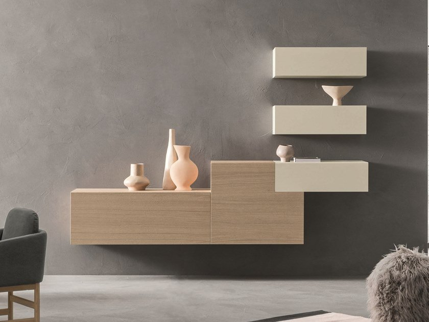 Sectional wall-mounted oak storage wall LEI | Composition L206 by ZANETTE