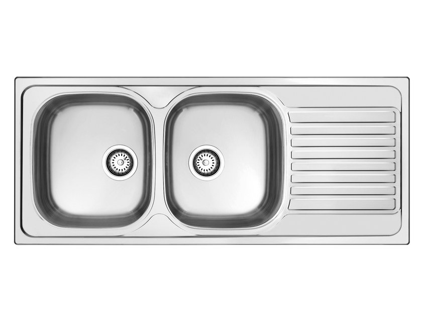 2 bowl built-in sink with drainer L2G16X | Sink by Glem Gas
