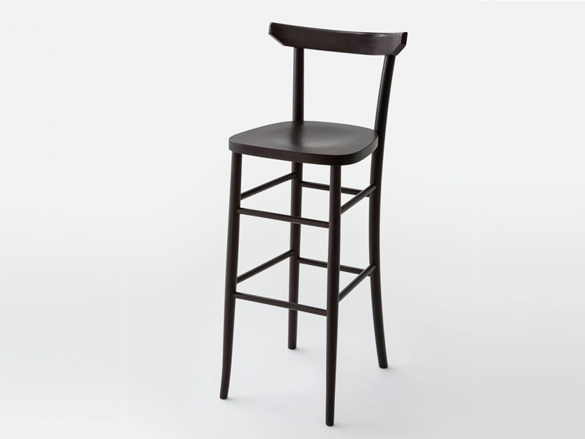 High wooden stool with back L60 | Stool with back by LIGHTSON