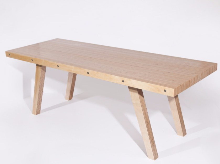 Rectangular multi-layer wood table L63 | Table by MALHERBE EDITION