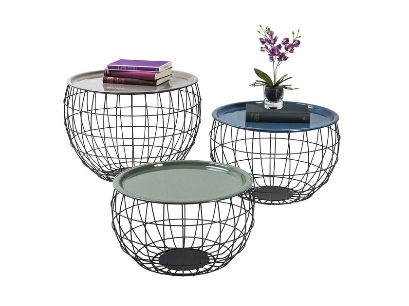Round powder coated steel coffee table LA COSTA WIRE by KARE-DESIGN