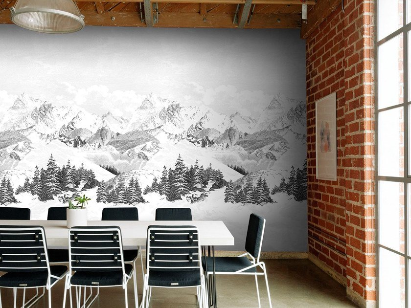 Panoramic landscape non-woven paper wallpaper LA-HAUT by Isidore Leroy