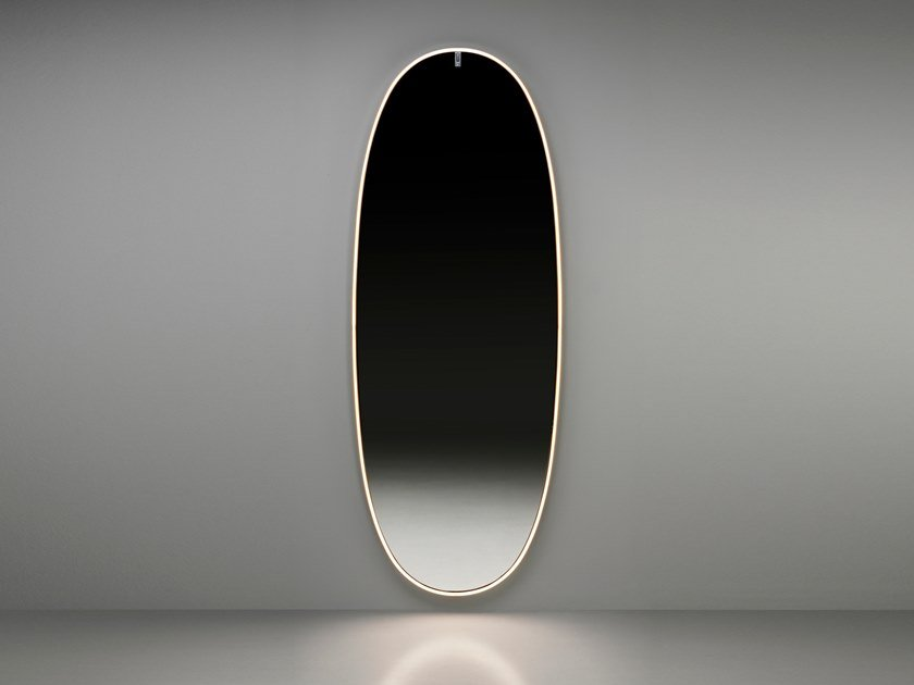 Oval wall-mounted mirror with integrated lighting LA PLUS BELLE by Flos