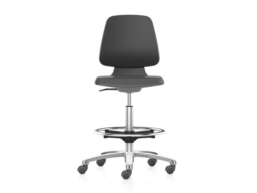 Work chair with 5-Spoke base, casters and footrest LABSIT 9125 by bimos