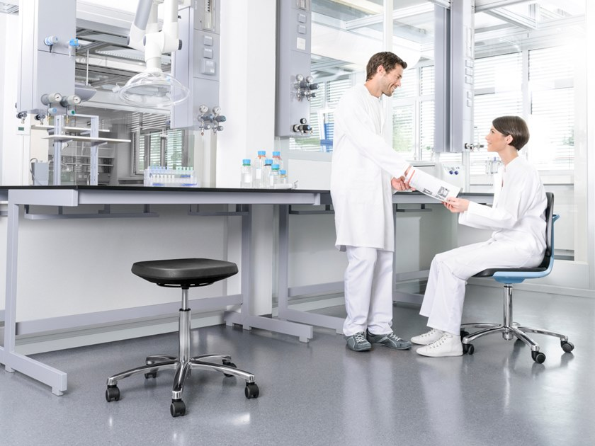 Sgabello da laboratorio a 5 razze con ruote labsit 9127 bimos
