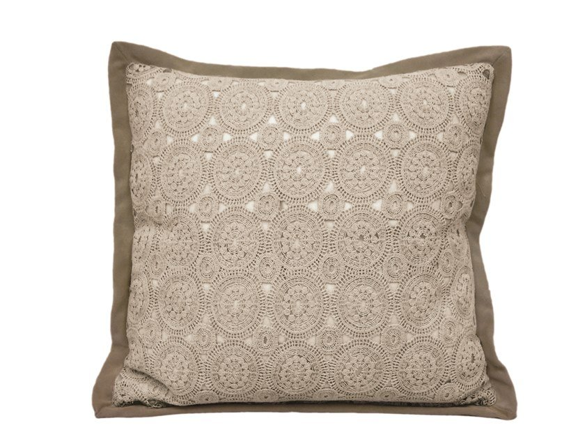 Square geometric leather cushion LACE by Longhi