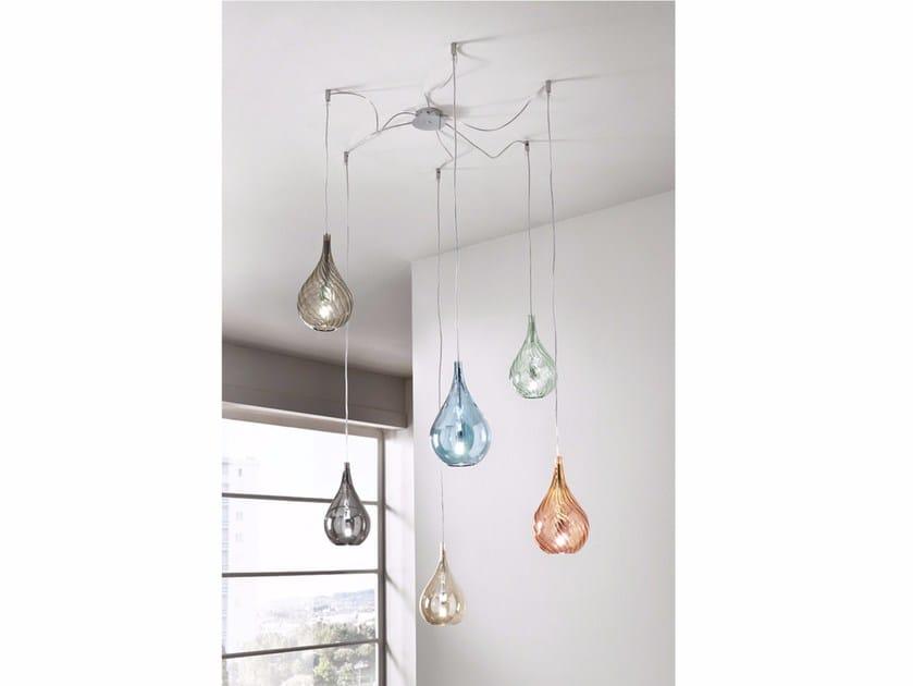 Lampada a sospensione a luce diretta in vetro soffiato LACRIMA MINI | Lampada a sospensione by Cangini & Tucci