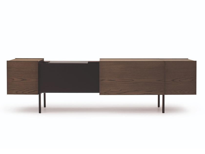 Lacquered sideboard with sliding doors LADIN | Sideboard by Busnelli