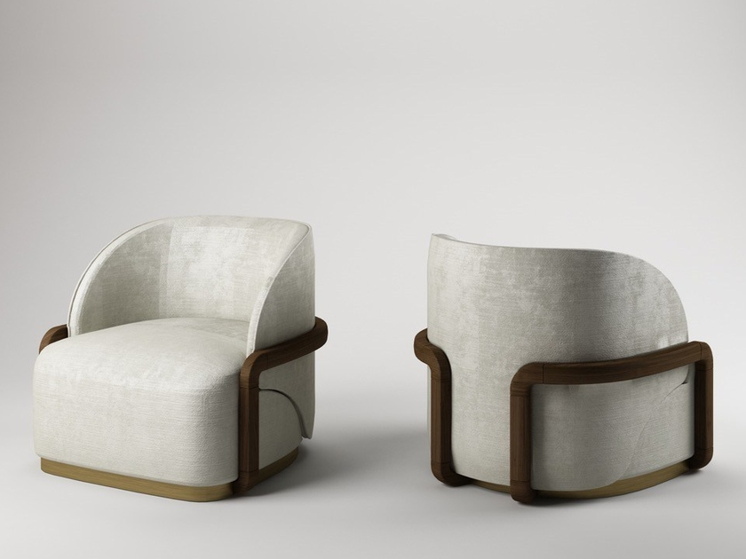 Leather easy chair with armrests LADY PEACOCK by Paolo Castelli