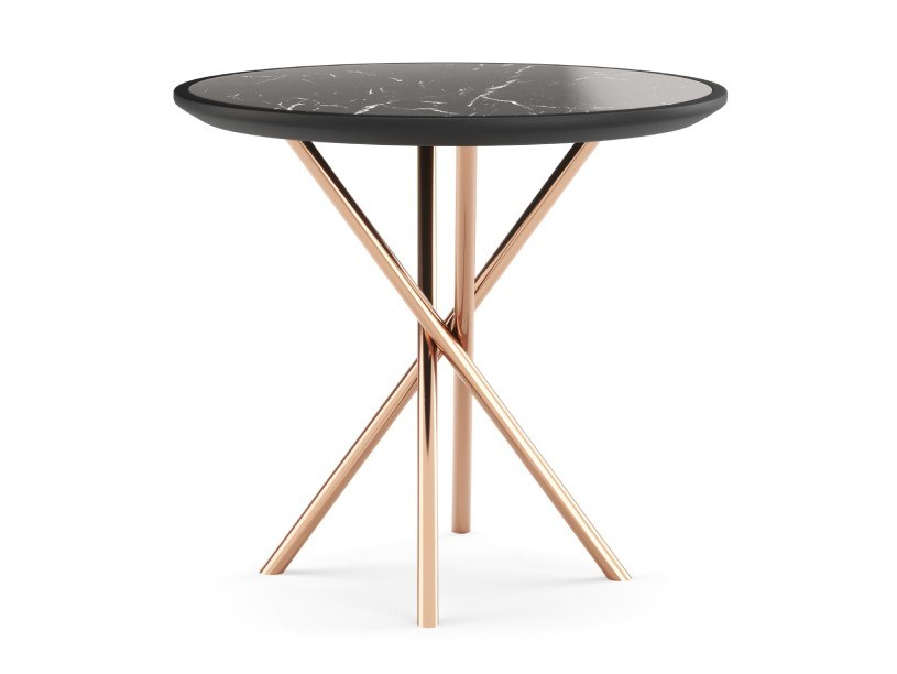 Contemporary style stainless steel side table with 4-star base for living room LADY by PRADDY