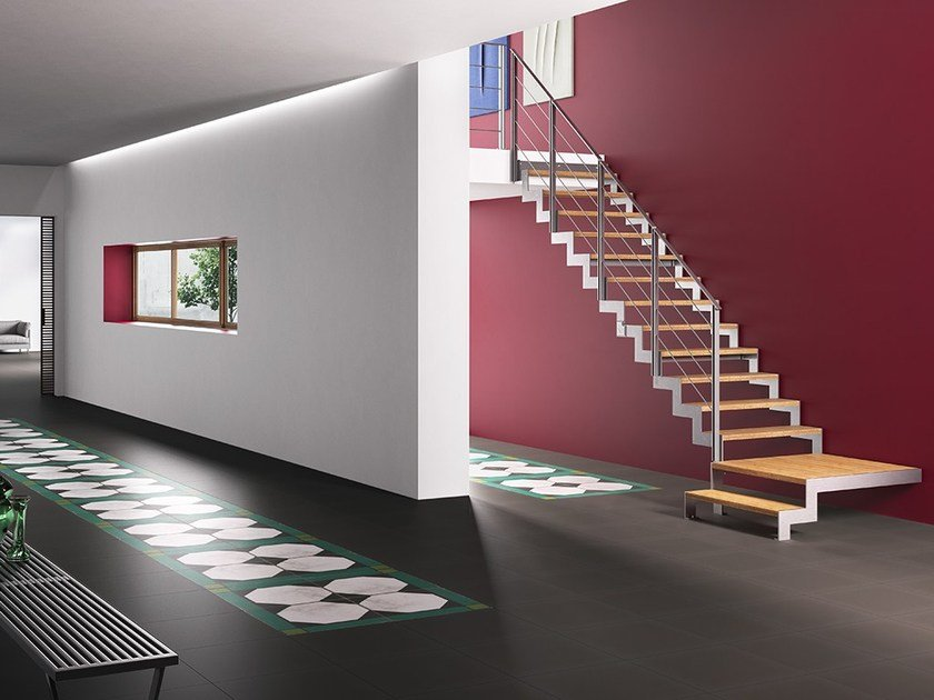 U-shaped steel and wood Open staircase LAFONT FULMINE by Fontanot