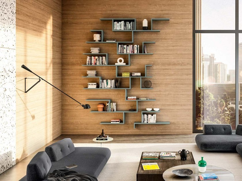 Wall-mounted sectional wooden bookcase LAGOLINEA   Bookcase by Lago