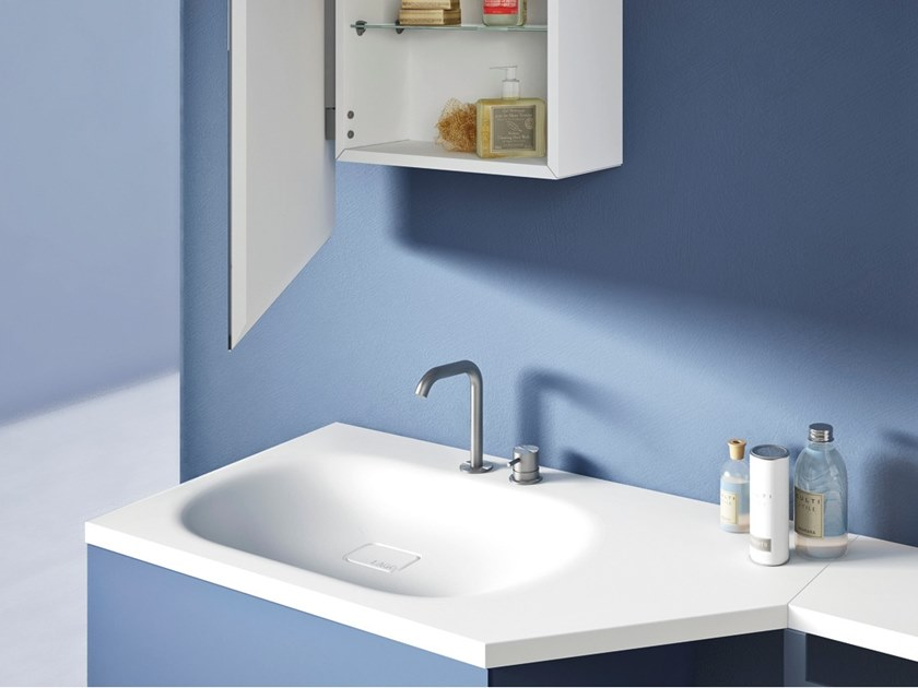 Rectangular Cristalplant® washbasin with integrated countertop LAGOLINEA | Washbasin by Lago