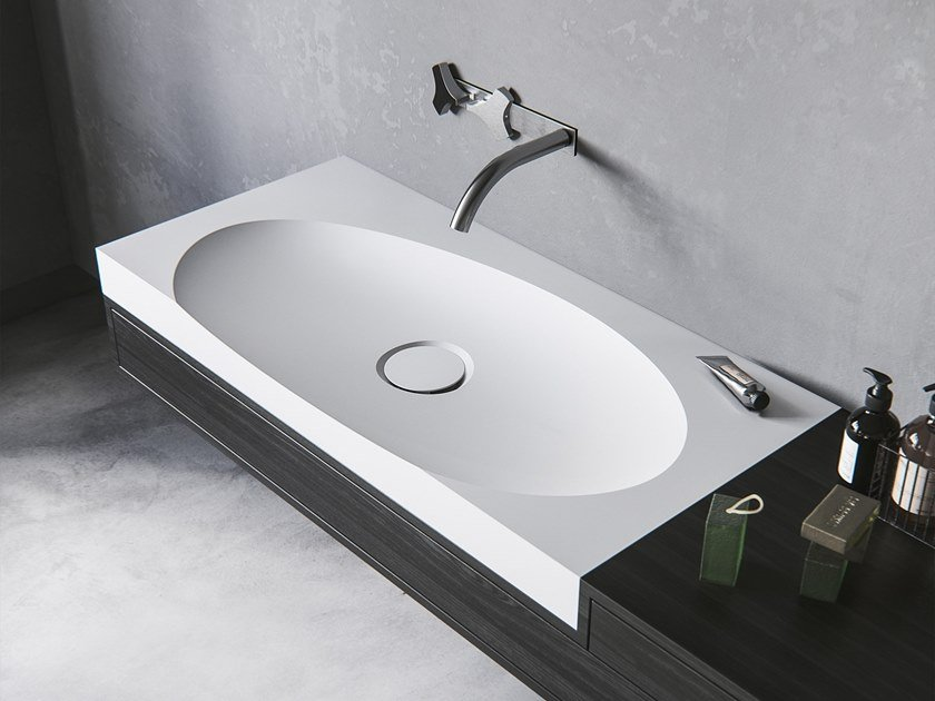 Lavabo ovale in Meridian Solid Surface® con piano LAGOON-01 by Le Projet