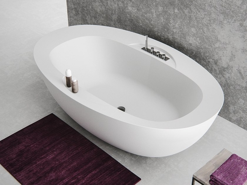 Baignoire ovale en Meridian Solid Surface® LAGOON-BT01 by Le Projet
