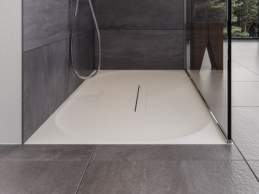 Rectangular Meridian Solid Surface® shower tray LAGOON-SH01 by Le Projet