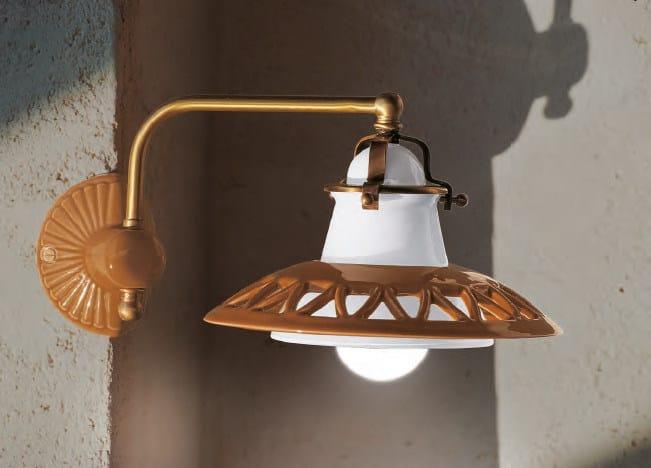 Ceramic wall lamp with fixed arm laguna wall lamp by aldo bernardi