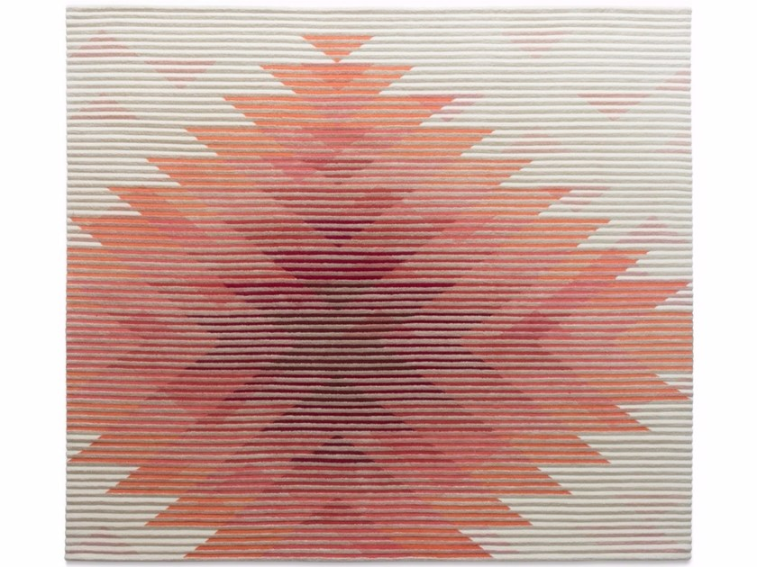 Handmade rug with optical pattern LAKE RED by Golran