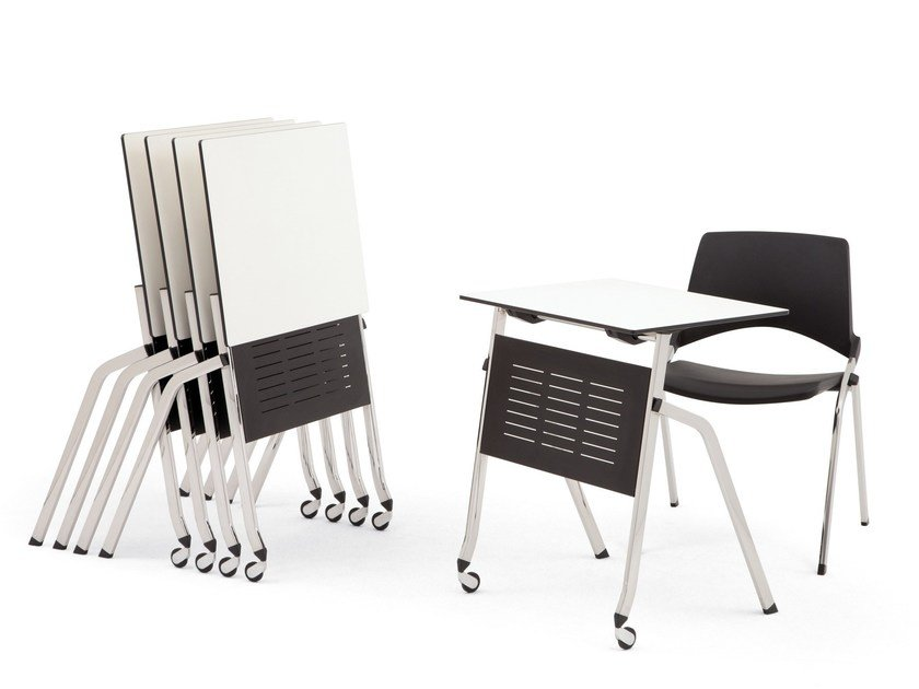 Folding HPL bench desk with castors LAKENDÒ | Bench desk by Diemmebi