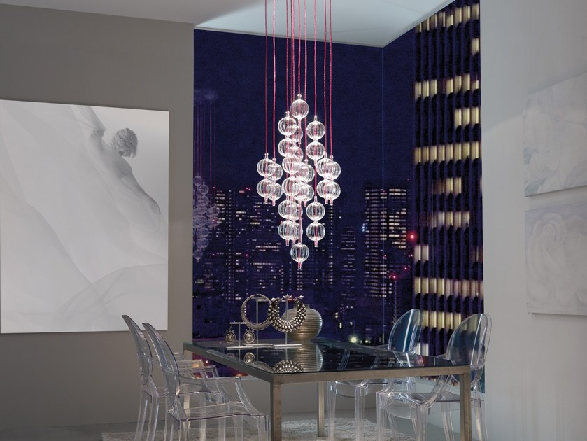 Contemporary style glass pendant lamp LAMBDA by melogranoblu