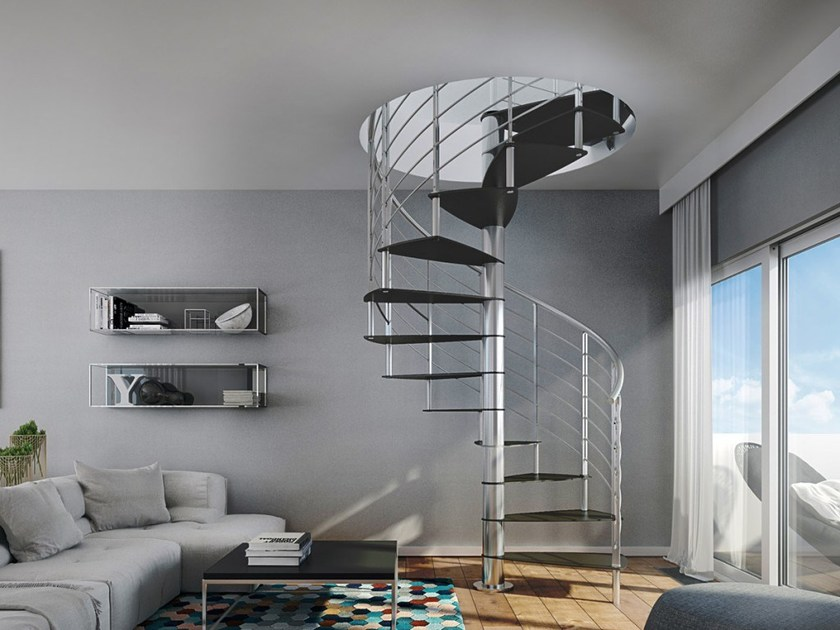Powder coated steel Spiral staircase LAMINA by RINTAL